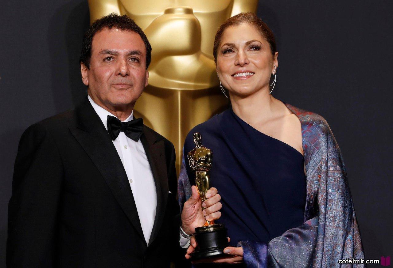 انوشه انصاری و فیروز نادری بعد از دریافت اسکار بهترین کارگردانی بهترین فیلم